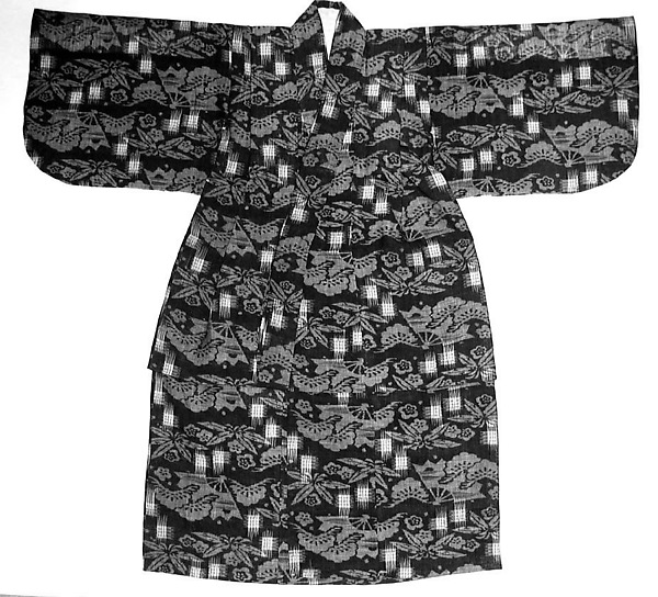 Child&#39;s Kimono with Design of Pine, Bamboo, Plum Blossoms, and Fans